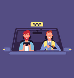 Taxi app client and driver inside cab cabin vector
