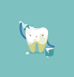 tooth painting for whitening tooth bleaching vector image