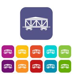 Train cargo wagon icons set vector