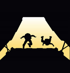 two paratroopers jump from the plane vector image