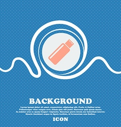 Usb sign icon flash drive stick symbol Blue and vector