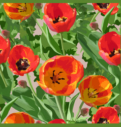 watercolor seamless pattern with red tulips vector image