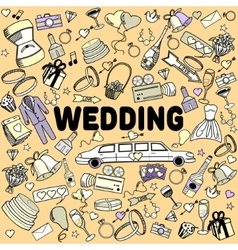 Wedding line art design vector image