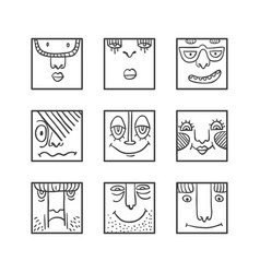 avatars doodle set vector image
