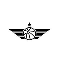 Basketball ball icon with wings and star mockup vector image vector image