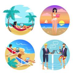 business summer seaside set vector image vector image