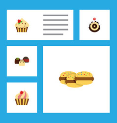 flat cake set of pastry biscuit confectionery vector image