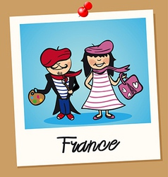 France travel polaroid people vector image vector image