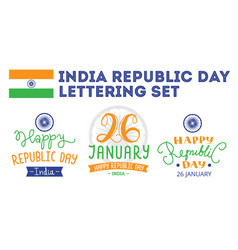 indian republic day hand lettering labels vector image