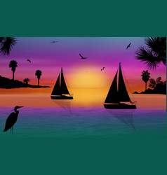 silhouette of a sailingboats at the sea on vector image