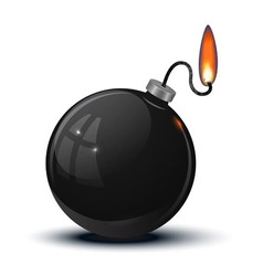 An old round bomb with a lit fuse vector image vector image