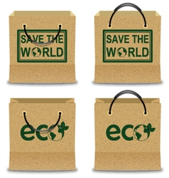 Brown Paper Shopping Bag Set with ECO and SAVE THE vector image vector image