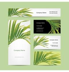 Business cards design tropical leaf vector image