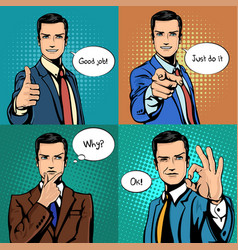 businessman with different hand gestures vector image