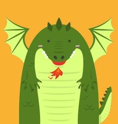 cute big fat green dragon vector image