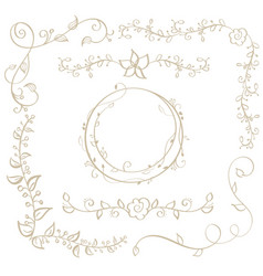 round frame and decorative vintage corners with vector image vector image