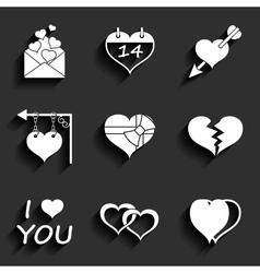 Set icons of Valentines day red hearts signs vector image vector image
