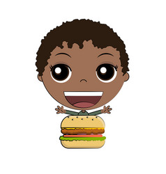 cartoon boy eating burger vector image