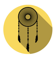 dream catcher sign flat black icon with vector image