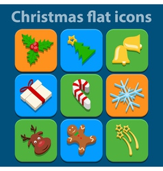Flat icons set Christmas and New Year vector image vector image
