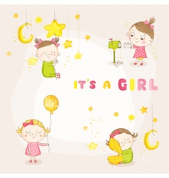 Set of Cute Baby Girl - for Baby Shower vector image vector image