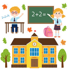 set of isolated building school and children vector image vector image