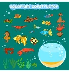 Aquarium constructor fishbowl different fishes vector