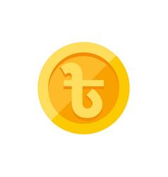 bangladeshi taka symbol on gold coin flat style vector image vector image