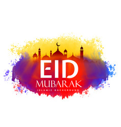 eid mubarak creative design with watercolor effect vector image
