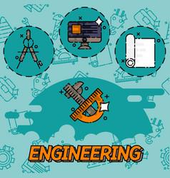 engineering flat icons set vector image