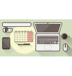 Flat office icons with a thick stroke vector image vector image