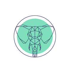 geometric animal head elephant outline vector image vector image