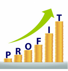 Graph revenue growth and profits gold coins vector