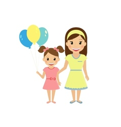 Mom with little daughter vector image