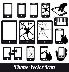 Phone touch communication icons vector image