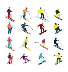 Skiing isometric set vector
