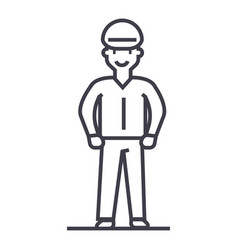 worker line icon sign on vector image vector image