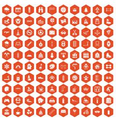 100 children activities icons hexagon orange vector image