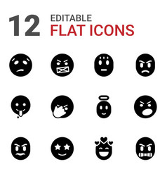 12 expression icons vector