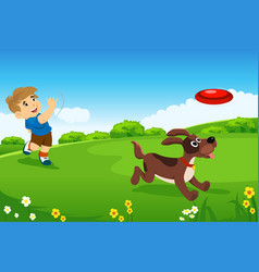 A boy playing with his dog vector