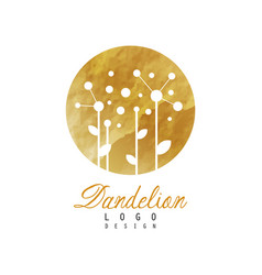 Abstract logo design with dandelion on golden vector
