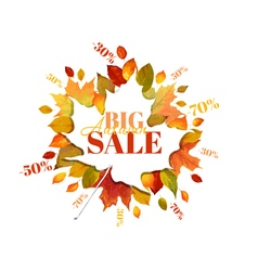 autumn sale - colorful leaves background vector image