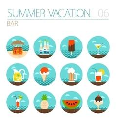 Bar beach icon set Summer Vacation vector