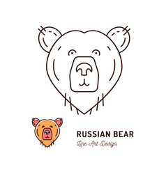 Bear thin line art icon outline vector