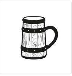 Beer stein retro icon in simple monochrome style vector