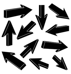 black flat arrows set of straight signs vector image