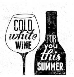 black-white wine bottle and glass for summer menu vector image