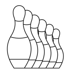 Bowling pins icon outline style vector