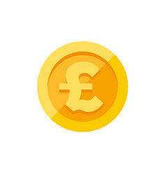 British pound sterling symbol on gold coin flat vector