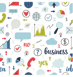 business seamless pattern set icons vector image